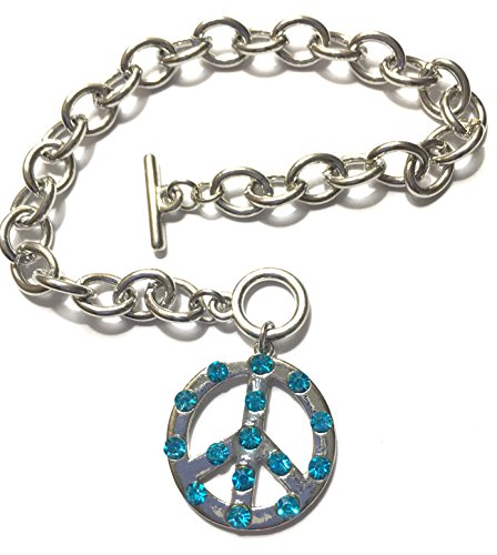 Peace Sign Charm Bracelet crystal stones (Azur blue) ()
