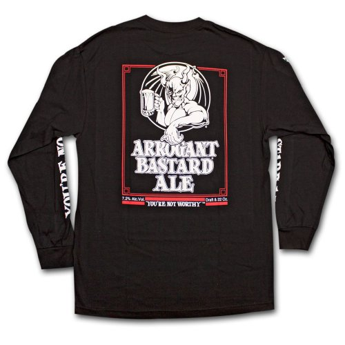 Arrogant Bastard Ale Not Worthy Long Sleeve Graphic Tee Shirt X-Large Black (Arrogant Beer Bastard)