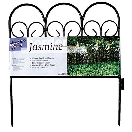Origin Point Classic Decorative Steel Landscape Border Fence Section (Pack of 4, Jasmine)