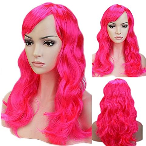 Long Curly Wavy Cosplay Synthetic Full Wig with Bangs 20 Styles Heat Resistant Fiber Vogue Layered 19'' / 19inch for Women Girls Lady Halloween Anime Costume Party Date,Dark (Dark Layers Volume 2 Volume 1)