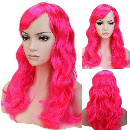 Long Curly Wavy Cosplay Synthetic Full Wig with Bangs 20 Styles Heat Resistant Fiber Vogue Layered 19'' / 19inch for Women Girls Lady Halloween Anime Costume Party Date,Dark Pink