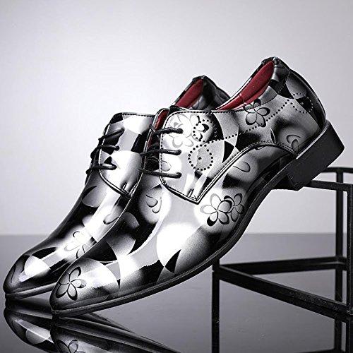 Grande scamosciato Extra casuale Bebete5858 Uomini Grigio Flower scarpe Dimensione Uomo stile Inghilterra 50 Pelle PU particolarmente qfWg1
