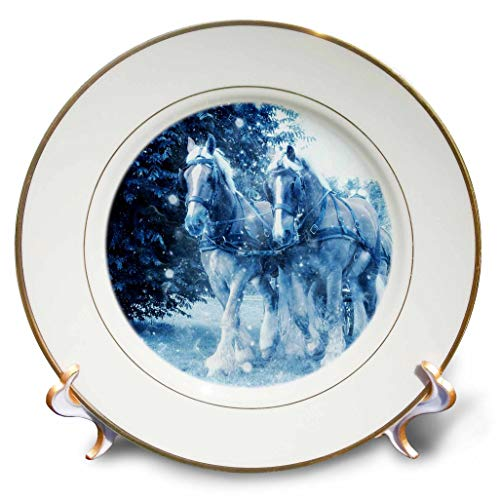 - 3dRose Lens Art by Florene - Watercolor Art - Image of Clydesdale Horses in Snow in Blue Watercolor - 8 inch Porcelain Plate (cp_300362_1)