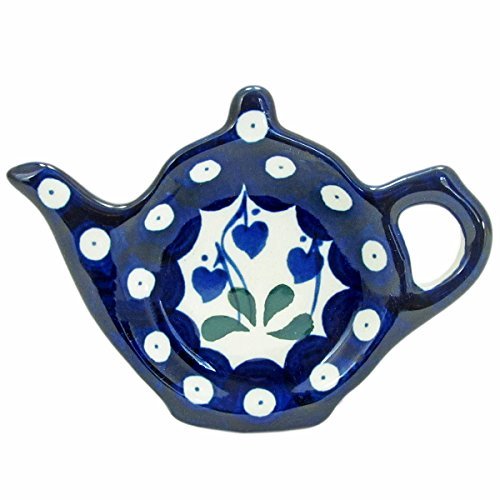 Polish Pottery Teapot Teabag Holder Boleslawiec Poland Traditional Traditional Pattern 766- Classic Hearts