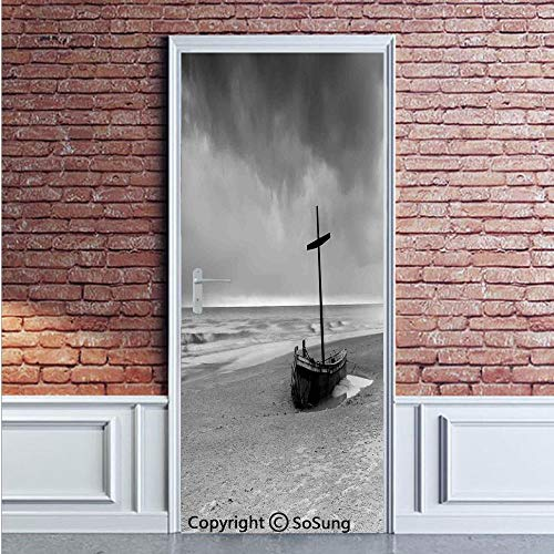Ocean Decor Door Wall Mural Wallpaper Stickers,Wreck Small Stranded Boat on Seaside Snow Clouds Windy Day Wave Picture,Vinyl Removable 3D Decals 35.4x78.7/2 Pieces Set,for Home Decor Black and -