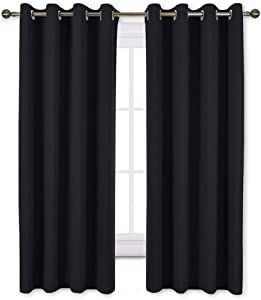 NICETOWN Black Out Curtains for Living Room - Easy Care Solid Thermal Insulated Grommet Blackout Panels/Drapes for Bedroom Window (2 Panels, 52 inches Wide by 63 inches Long)