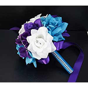 17pc Wedding Bridal Party Bouquets Boutonniere - Turquoise, Purple, Silver - Silk Roses Flowers 3