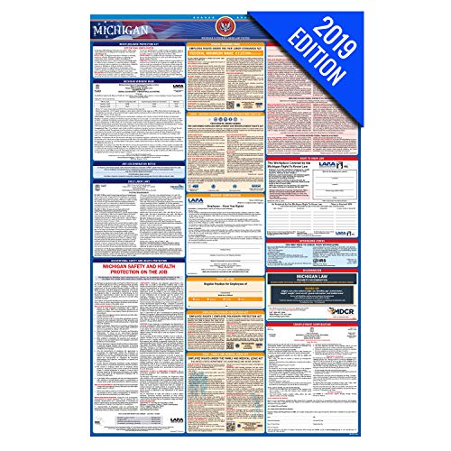 (2019 Michigan Labor Law Poster – State, Federal, OSHA Compliant – Laminated Mandatory All in One Poster)