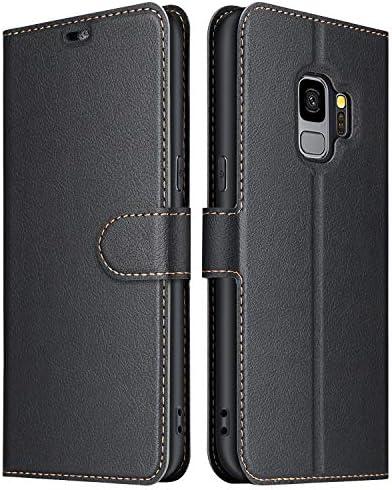 ELESNOW Funda Samsung Galaxy S9, Cuero Premium Flip Folio Carcasa Case para Samsung Galaxy S9 (Negro): Amazon.es: Electrónica