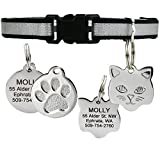 Reflective Cat Collar w/Personalized Stainless-Steel Pet ID Tag. Breakaway Cat Collar Available in Assorted Colors. Cat ID Tag Comes w/ 4 Lines of Engraved Text. (Black)