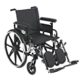 Drive Medical Viper Plus GT Wheelchair with Removable Flip Back Adjustable Arms, Adjustable Full Arms, Elevating Legrests, 18-Inch
