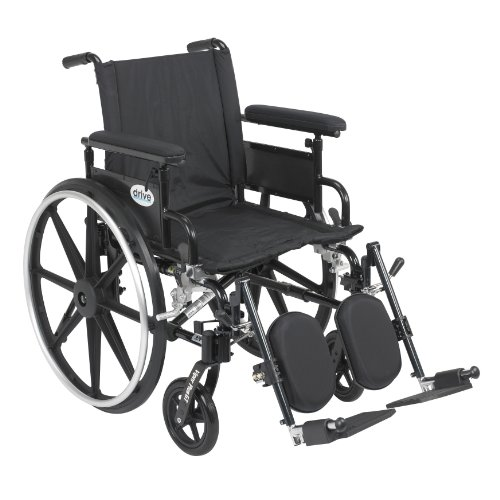 Viper Plus GT Wheelchair with Flip Back Removable Adjustable Full Arms, Elevating Leg Rests, 18