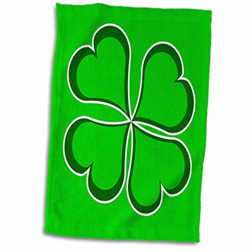 3dRose Janna Salak Designs St Patricks Day - Lucky Green Four Leaf Clover - 15x22 Hand Towel (twl_77560_1)