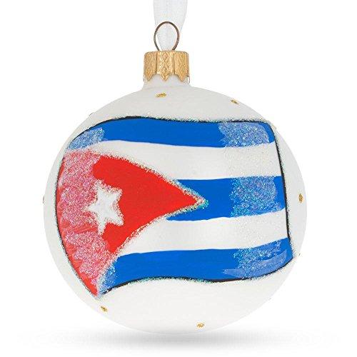 BestPysanky Flag of Cuba Glass Ball Christmas Ornament (Cuba Christmas Decorations)