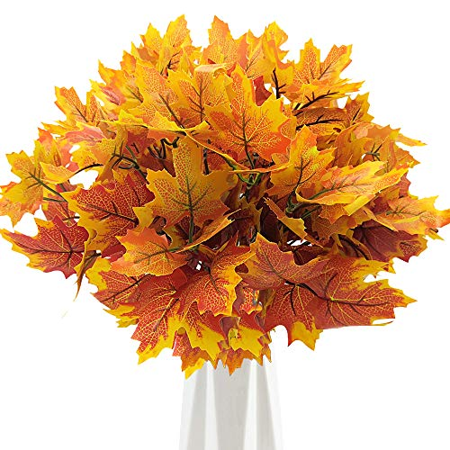 Grunyia Artificial Maple Leaves Branches Autumn Leaves Fall Maple Leaf Stem for Home Kitchen Christmas Festival Thanksgiving Autumns Decoration (Pack of 4)