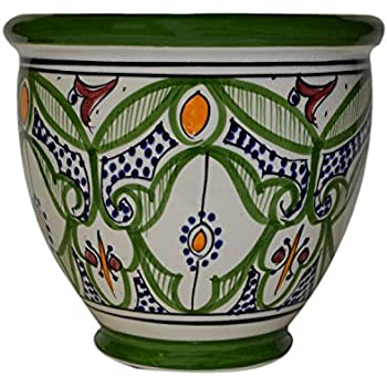 Flower Pot Moroccan Spanish Garden Drain Hole Ceramic Planter Handmade Multicolored  sc 1 st  Amazon.com & Amazon.com : Flower Pot Moroccan Spanish Garden Drain Hole Ceramic ...