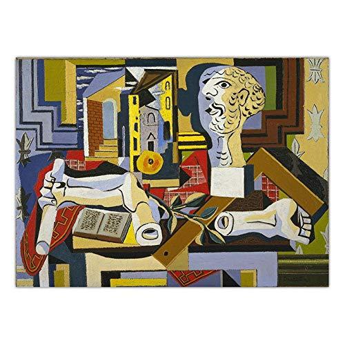 Picasso GeomeTrica De La Lona Sala De Decoracion Marco De La Famosos Abstracto Pared Arte Graffiti Arte Figura Pintura Vintage Imprimir Salon Dormitorio Cuadro 40x60cm No Cartel