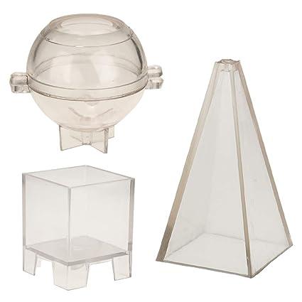 B Baosity Fácil Limpia Molde Plástico, Pirámide Esfera Cuadrado Molde Vidrio para Hecho Vela