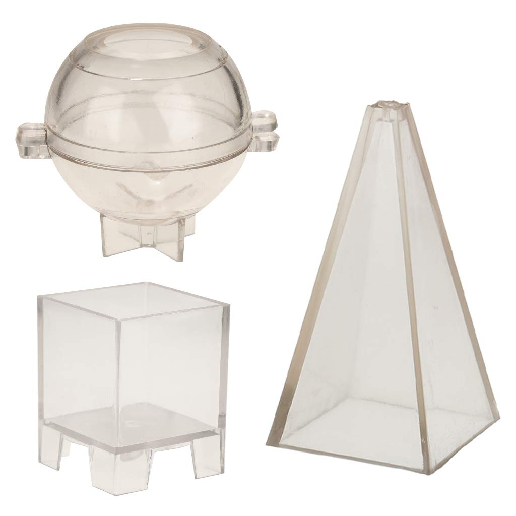 Baosity Pyramid Sphere Square Shaped Candle Making Moulds DIY Handmade Soap Mold Candle Scented Candle Dried Flower Candles Making Mold Tools