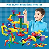 T-Juan MM 50pcs Plastic Pipe & Joint Educational Building and Construction Toys Set with 4 Wheels in a Handbag for Boys and Girls - Montessori Games Toys Pipeworks Construction Building Blocks