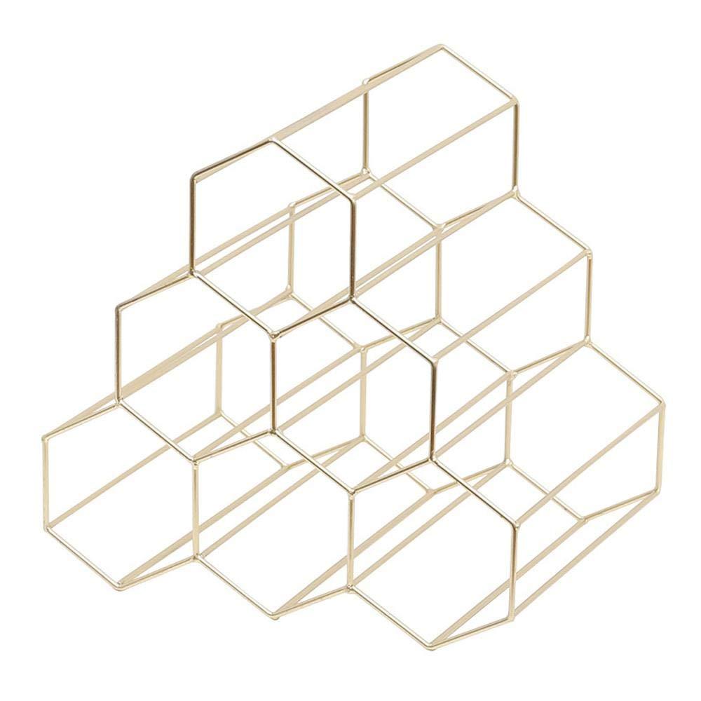 KOBWA Hexagonal Gold Wine Rack - 6 Bottles, Countertop Triangle Metal Wine Bottle Holder Rack for Bar/Hotel/ Home/Kitchen