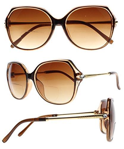 Bifocal Butterfly Large Frame Diamond Rhinestone UV400 Protect Tinted Sunglasses Reading Glasses (Brown, 2.5) (Rhinestone Reading Brown Glasses)