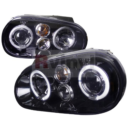 Spec-D Tuning LHP-GLF99G-TM Volkswagon Golf Dual Halo Glossy Black Projector Headlights