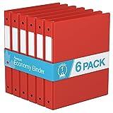 """Premium Economy, Round Ring, Binder, 6 Pack (Red, 1"""")"""