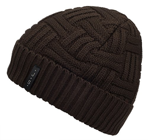 Wool Knit Acrylic (Spikerking Mens Winter Knitting Wool Warm Hat Daily Slouchy Beanie Skull Cap,Coffee)
