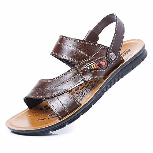 estate Il nuovo Spiaggia scarpa Uomini vera pelle sandali vera pelle traspirante Tempo libero scarpa Uomini Taglia larga sandali ,Marrone ,US=9.5,UK=9,EU=43 1/3,CN=45