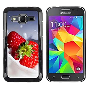 LECELL -- Funda protectora / Cubierta / Piel For Samsung Galaxy Core Prime SM-G360 -- Fruit Macro Creamy Strawberries --