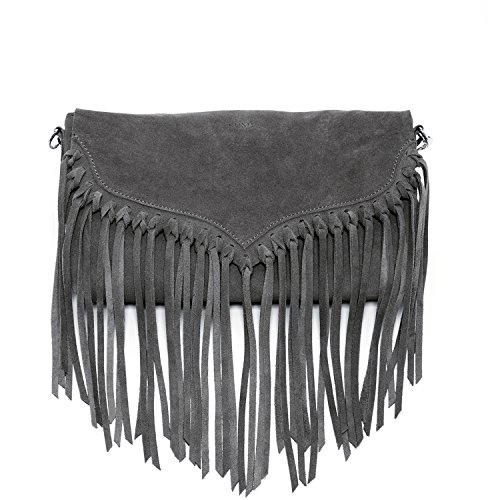 Crossbody Lillian Handbags Fringe Leather Grey SUSU Bag Suede The Suede Op6qFaS