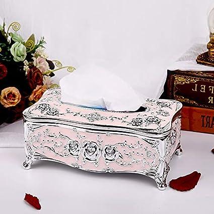 Salle de bain et WC T-ZJHC Boîte à mouchoirs européenne Salon créatif Livre boîte ménage Papier boîte KTV Table Basse Simple et Belle boîte à Serviettes Phnom Penh Blanc