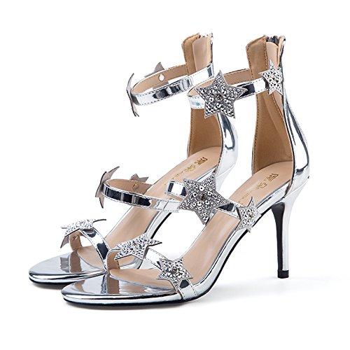 Heeled mit Schuhe Gleichen Ein Heels ZHANGYUSEN Heels Sterne und Silberne High High der Schwarz 2018 cm Sandalen mit 8 Paar Neue Sommer Sterne nZa7Z
