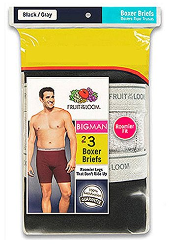 Fruit of the Loom Men's 3-Pack Big Man Boxer Briefs - Black / Grey 3EL7XBM (3XB (Waist 50