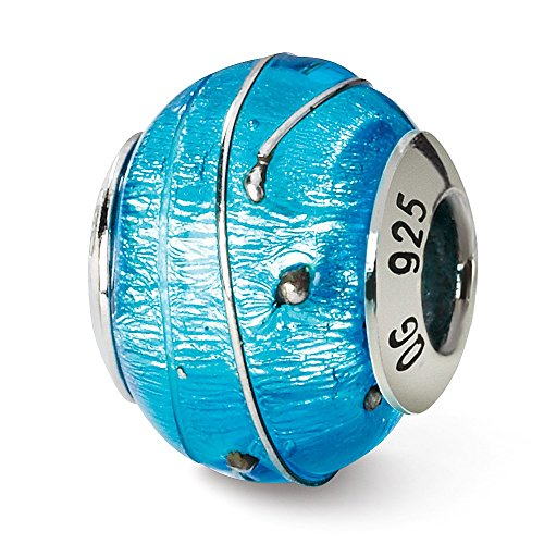 925 Sterling Silver Charm For Bracelet Blue/silver Italian Murano Bead Glas Fine Jewelry Gifts For Women For Her