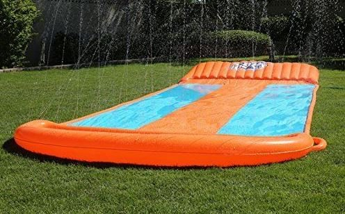 eXXtra Store Outdoor Triple Inflatable Water Slide Big Splash Spit Kids Play Backyard Pool + eBook