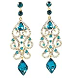 Janefashions Sexy Austrian Crystal Rhinestone Chandelier Dangle Earrings Bridal E2084 Blue or White (Blue/Gold)