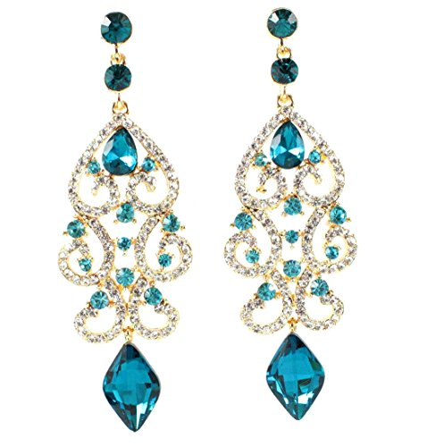 Janefashions Large Sexy Austrian Crystal Rhinestone Chandelier Dangle Earrings Bridal E2084 3 Colors (Blue/Gold) ()