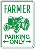 """Farmer Parking Only Metal Sign, Personalized Arrows Tractor Driver Gift, Custom Farm Owner Home Garage Decor - 10""""x14"""" Quality Aluminum Sign"""
