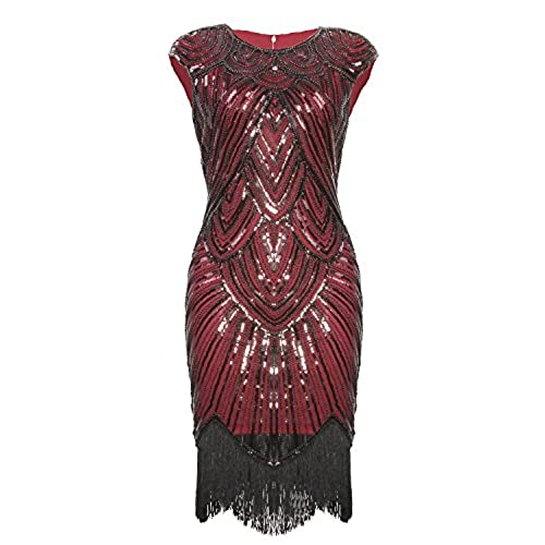 Vijiv Art Deco Great Gatsby Inspired Tassel Beaded 1920s Flapper Dress, Wine Red, Small
