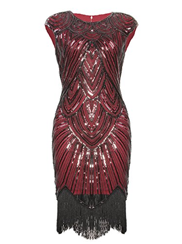 Vijiv Art Deco Great Gatsby Inspired Tassel Beaded 1920s Flapper Dress, Wine Red, (Red 1920s Dress)