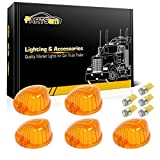 Partsam 5x Cab Marker Clearance Round Light Amber Cover 1313A+ Amber T10 LED Bulb for 1969 - 1987 GMC Chevy C K Series Pickup Trucks Dually Suburban Blazer