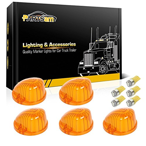 - Partsam 5x Cab Marker Clearance Round Light Amber Cover 1313A+ Amber T10 LED Bulb for 1969-1987 GMC Chevy C K Series Pickup Trucks Dually Suburban Blazer