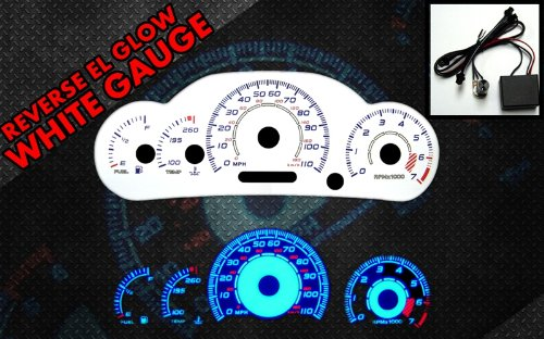 Brand New White Face Blue Indigo Reverse Glow Gauges For 00-05 Chevy Cavalier w/ Tach (I-456) (Gauge Glow Reverse White)