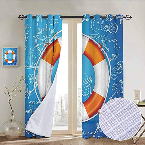 ins by Buoy,Life Buoy Image Background with Palm Tree Island Octopus Seahorse Lighthouse,Blue Orange White,Wide Blackout Curtains, Keep Warm Draperies,1 Pair 100