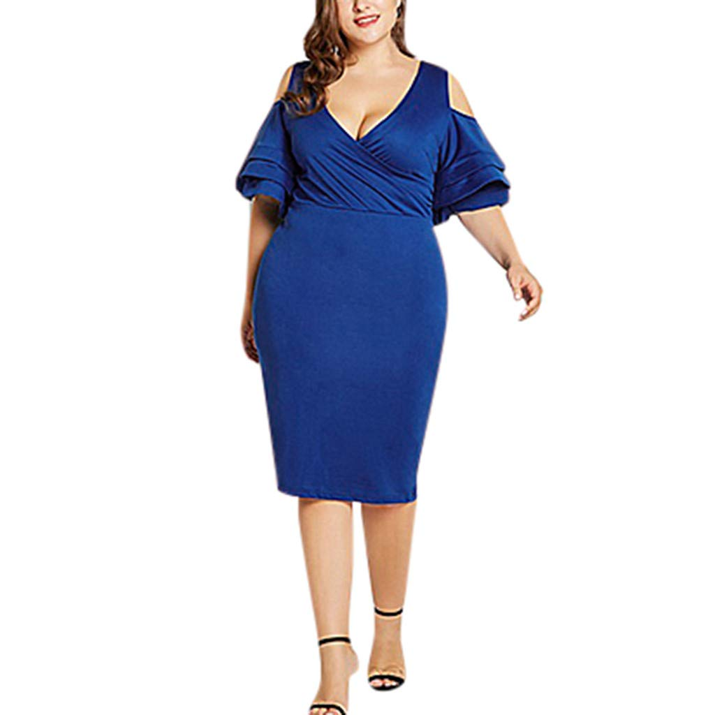 Women's Plus Size V-Neck Waist Pleated, Dianli Off-The-Shoulder Ruffled Sleeve Dress Large Size Split Dress