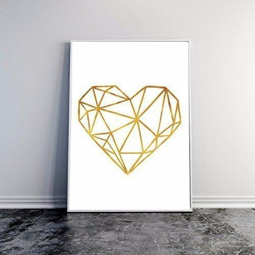 Amazon.com: Real Gold Foil Print, Heart Print, Gold Foil, Wall Art ...