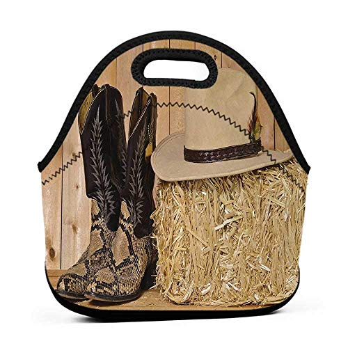 Large Size Reusable Lunch Handbag Western,Mystery Dark Skin Girl with Headdress Eye to Eye with Huge Snake,Cream Brown,olive green lunch bag for men
