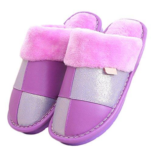 CYBLING Womens PU Leather Soft Fluffy House Slipper Waterproof Anti-Skid Sole Purple vp7vOe